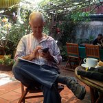 A gentleman enjoying his coffee & wi-fi