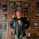 Jon Langford posing with his very own prints pre gig! Prints for sale