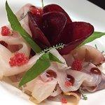 Pesce spada marinato con Aceto di Lamponi, Rapa rossa e Caviale di Lompo