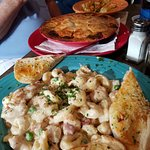 That pot pie is plate size! Enough for two. Cheese tortellini with chicken, awesome!