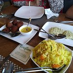 Items on the picture are Mochar Chap, Chicken Polaw !! (I call it chicken bhat bhaja), Imported