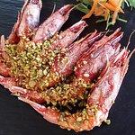 Gamberi rossi di Gallipoli gratinati con pistacchio