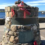 Cafe is a stone's throw from the Shetland Bud memorial