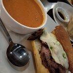 soup and an open face sandwich