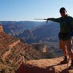 Pointing to Skeleton Point on South Kaibob Trail