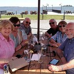 Friends have a great lunch with the Rappahannock River in the background