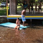 Kids play area with drifting rafts (about 1-3 feet deep)