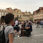 Many restaurants, shops and baroque houses in the Old town Prague