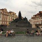 Sculpture of Jan Huss in the old town Prague
