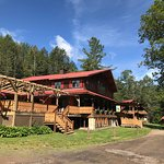 Main Lodge building and deck. Parking is directly to the left.