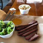 Smoked brisket with steamed broccoli and macro slaw.