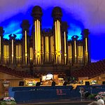 Pipe organ. The color behind the pipes changes with each piece of music.