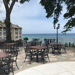 A partial view of the West side from the patio. A very nice beach in between the patio and rooms