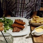 Steak with fish fingers