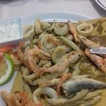 Fried seafood and already ate more than half of it!