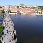 view from the top of the tower - in the background Prague castle