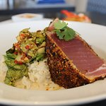 Spice Encrusted Fresh Tuna: Lemongrass Coconut Milk Broth, Sticky Rice, Bok Choy Kim Chee