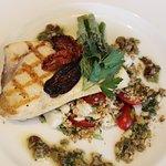 Grilled East Coast Swordfish: Crabmeat Tabbouleh, Olive Tapenade