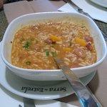 Feijão/Arroz e legumes que acompanham Patatiscas de Bacalhau