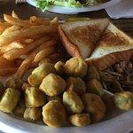 Chopped Pork plate with fries and fried okra.