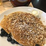 Protein Power Cakes - wheat pancakes, blueberries, oats & almonds