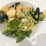Fabulous seafood risotto... mussels, asparagus, prawn and saffron