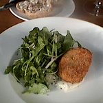 Ham Hock Croquette, Mustard relish + Rocket/Shallot salad.