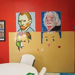Lego portraits of Vincent van Gogh and Albert Einstein