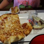 Children's pizza with apple slices.