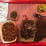 Pork ribs, chopped brisket and baked beans