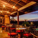 Outdoor dining with sunset views