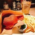 Burger, Fries, and Japanese highball