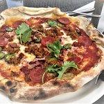 DIABLO PIZZA Chorizo, pepperoni, bacon, pork & fennel sausage, mozzarella, jalapeños and red chi