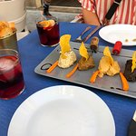 The sangria and our hummus sampler