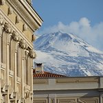 View of Mt Etna from the hotel entrance