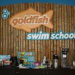 The Goldfish Swim School logo behind the front desk.