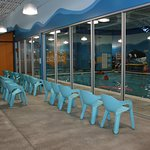 This is the viewing area for parents or friends to watch swimmers in the pool.