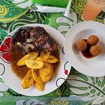 Jerk Chicken, Plaintains, Gecko balls