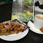 Coffee and apple pie at the cafe.