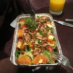 Chicken, avo and halloumi salad.