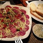 Beef Carpaccio and free bread & dips