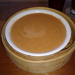 My lobster bisque soup bowl in a bamboo steamer