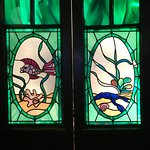 Stained glass panels on door to kitchen