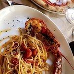 Lobster linguini and pizza on or first time visit as a couple