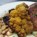 Pork Tenderloin Medallions, Roasted Cauliflower, Butter Beans, Sauce Soubise