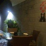 Detalhe da cascata e mesa com gatinhos na parede