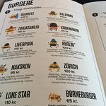 Menu with different city names, naming the burger