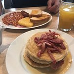 Breakfast pancake stack with Bacon and English Breakfast