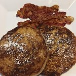 Oh so delicious Coffee Cinnamon Roll French Toast with a side of bacon.