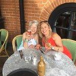 My mum and I at cote brassiere 80th birthday celebration